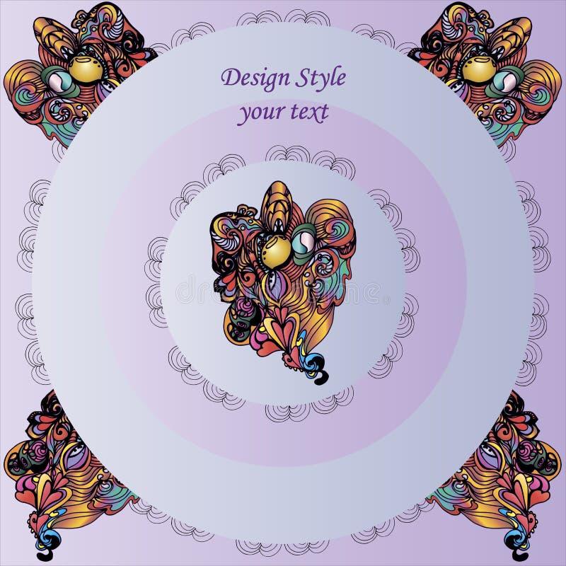 Modeller på rund lila bakgrund med dekorativa beståndsdelar royaltyfri illustrationer