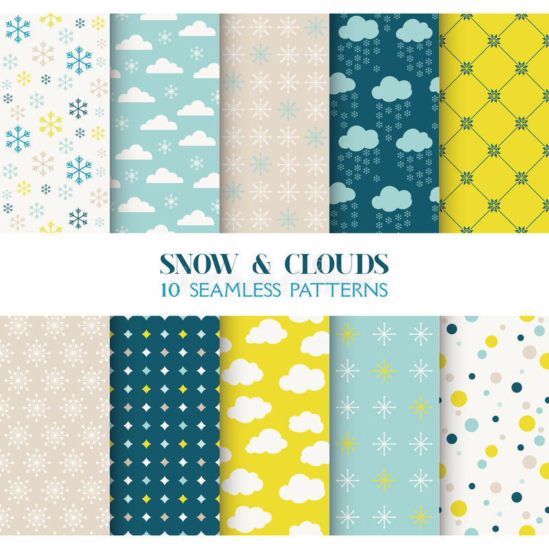 10 modeller - snö och moln royaltyfri illustrationer
