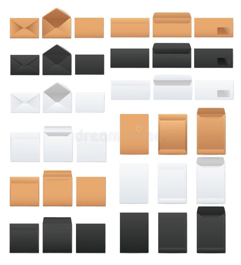 Modeller ställer in av vitt, och det svart och kraft bruntmellanrumet packar realistisk stil in royaltyfri illustrationer