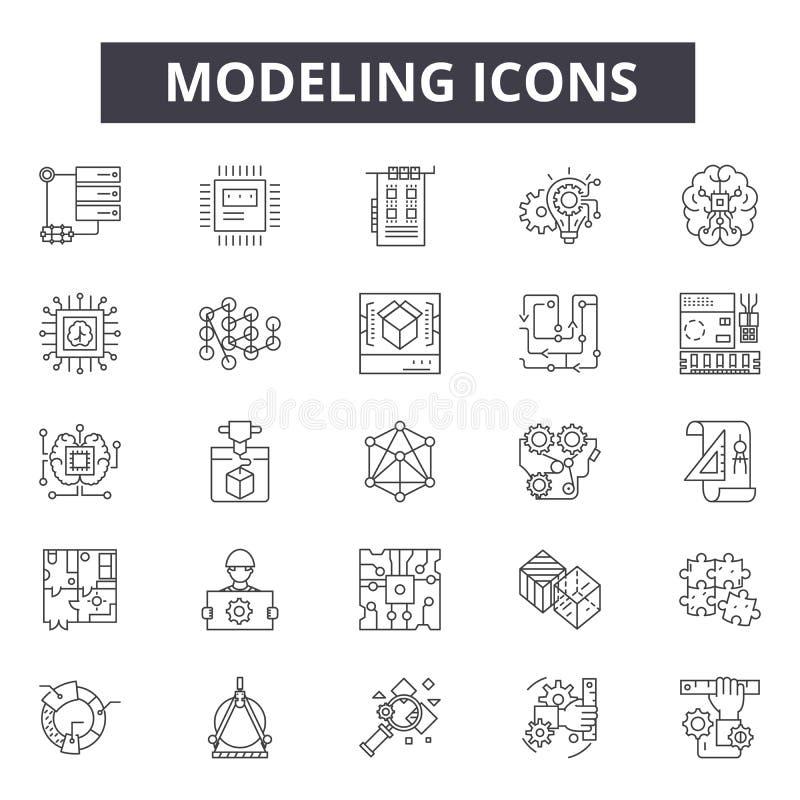 Modellera begreppslinjen symboler, tecken, vektoruppsättning, linjärt begrepp, översiktsillustration arkivbild