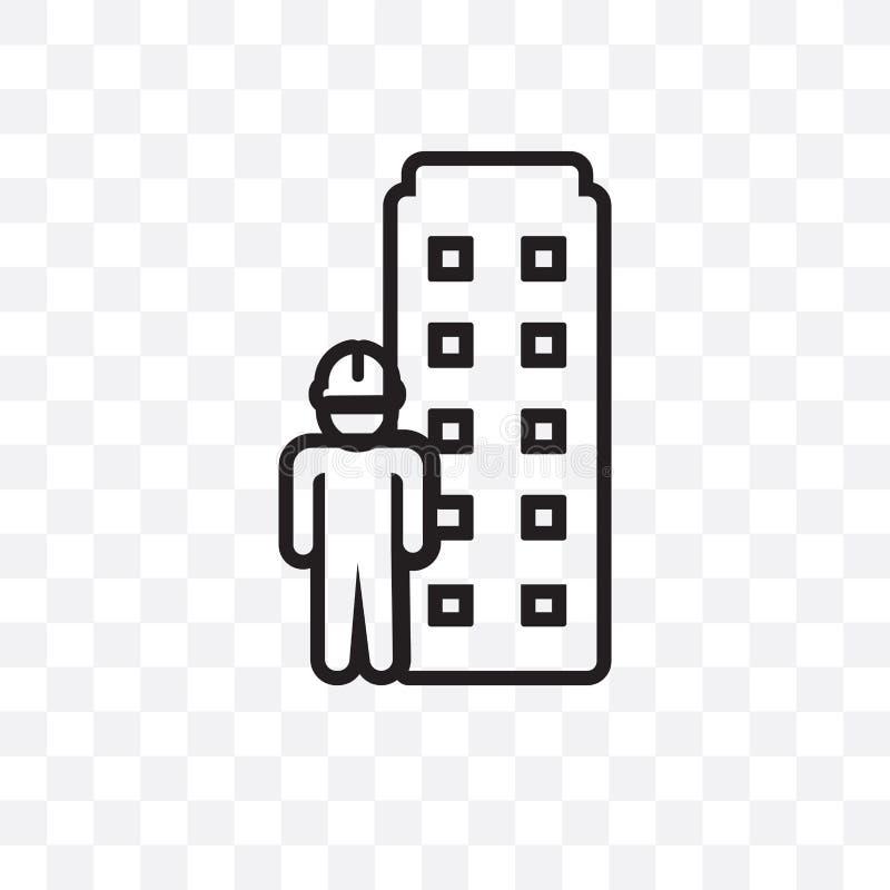 Modellera den linjära symbolen för byggnadsvektorn som isoleras på genomskinlig bakgrund, modellera byggnadsstordiabegreppet kan  vektor illustrationer