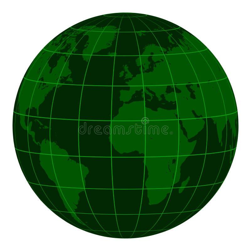 Modellera det Earth jordklotet med kontinenter och ett koordinerat raster, mörker - den gröna matrisen av krisen, jordklotet för  royaltyfri illustrationer