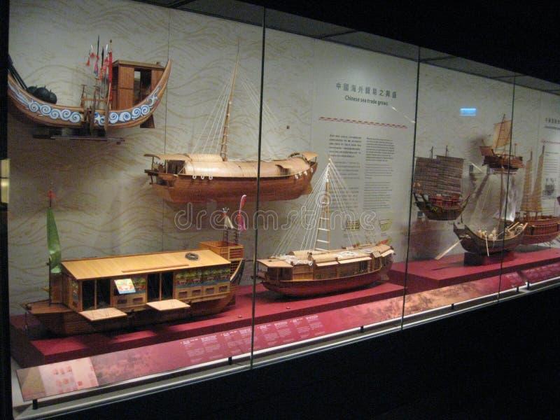 Modellera fartyg och seglingskepp i Hong Kong det maritima museet arkivfoto