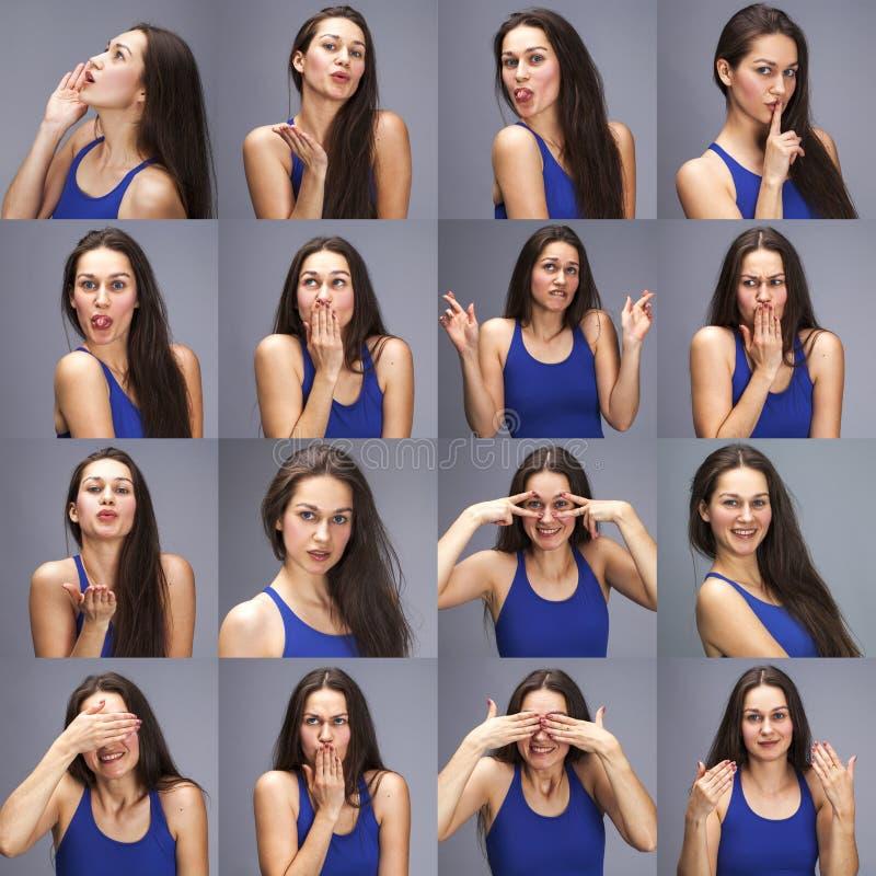 Modellera provcollage av sinnesr?relser - st?ende av en ung h?rlig brunettkvinna p? en gr? bakgrund arkivfoton