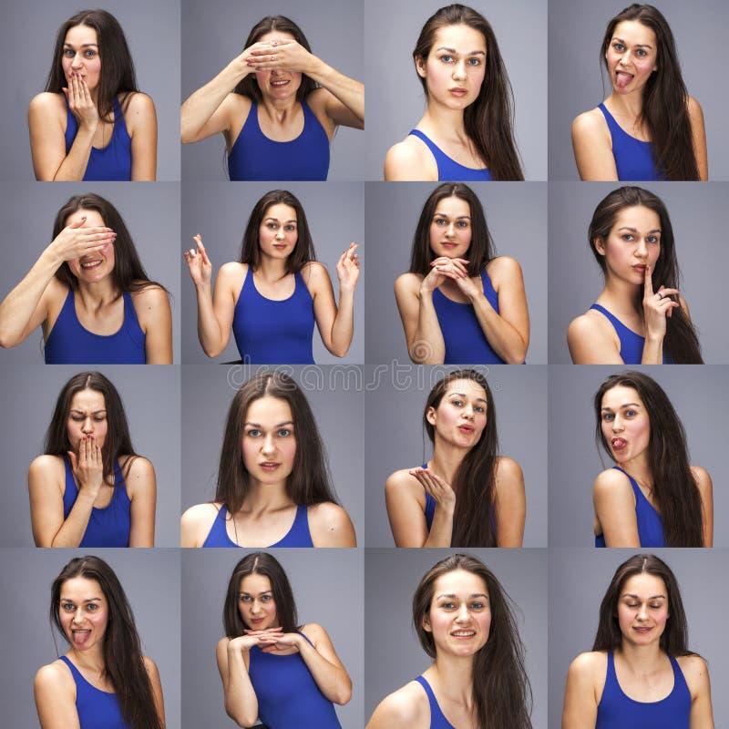 Modellera provcollage av sinnesr?relser - st?ende av en ung h?rlig brunettkvinna p? en gr? bakgrund royaltyfri bild