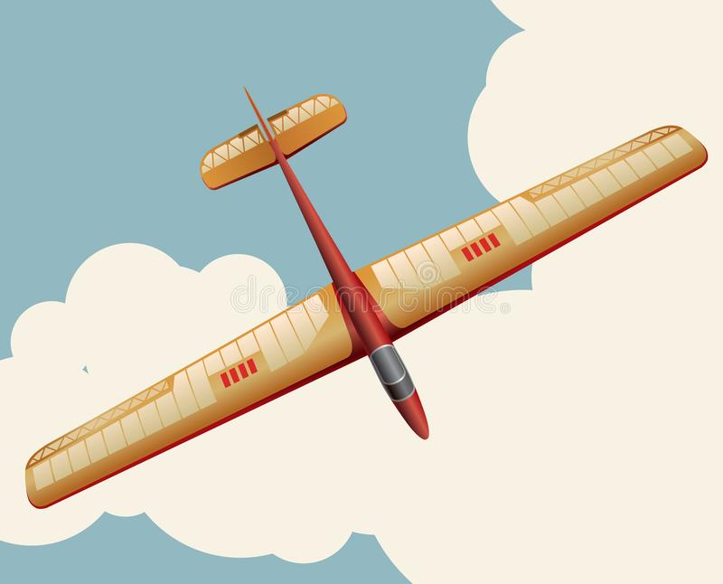 Modellglidflygplan som flyger över himmel med moln i tappningfärgstylization vektor illustrationer