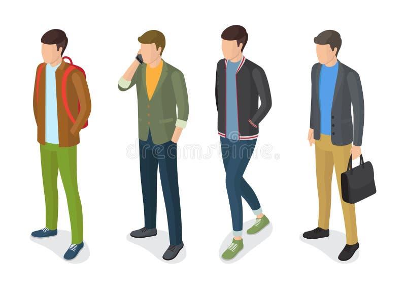 Modelli alla moda degli uomini in rivestimenti alla moda degli abiti illustrazione di stock