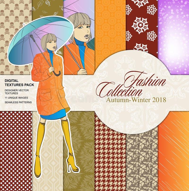 Modelli alla moda di inverno e di autunno illustrazione di stock