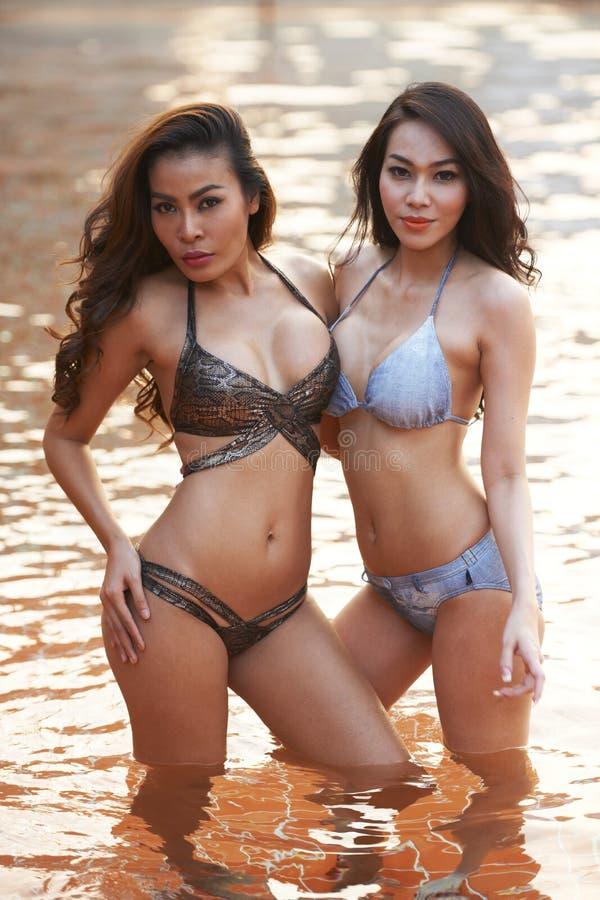 Modelli asiatici del bikini immagine stock