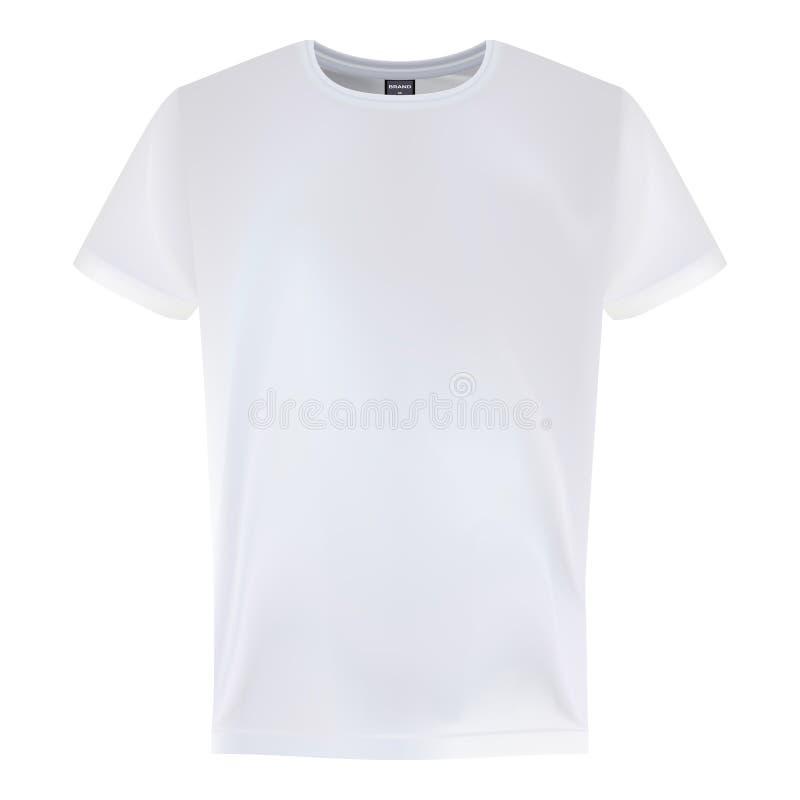 Modelli bianchi di progettazione della maglietta della manica degli uomini s brevi isolati su un fondo bianco Illustrazione di ve illustrazione vettoriale