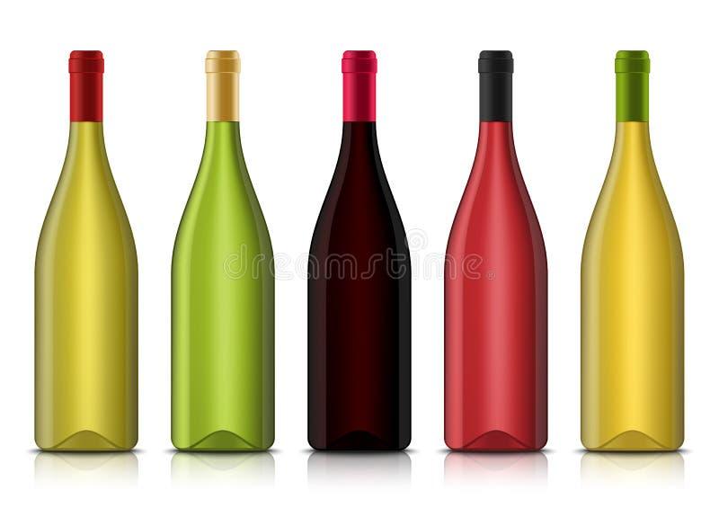 Modelli in bianco della bottiglia del vino realistico 3d di vettore illustrazione vettoriale
