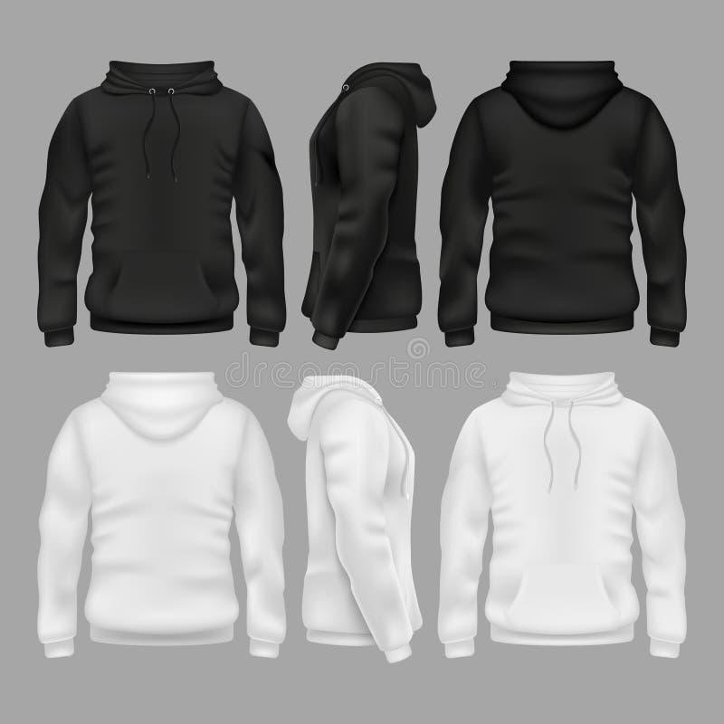Modelli in bianco in bianco e nero di vettore di maglia con cappuccio della maglietta felpata illustrazione vettoriale