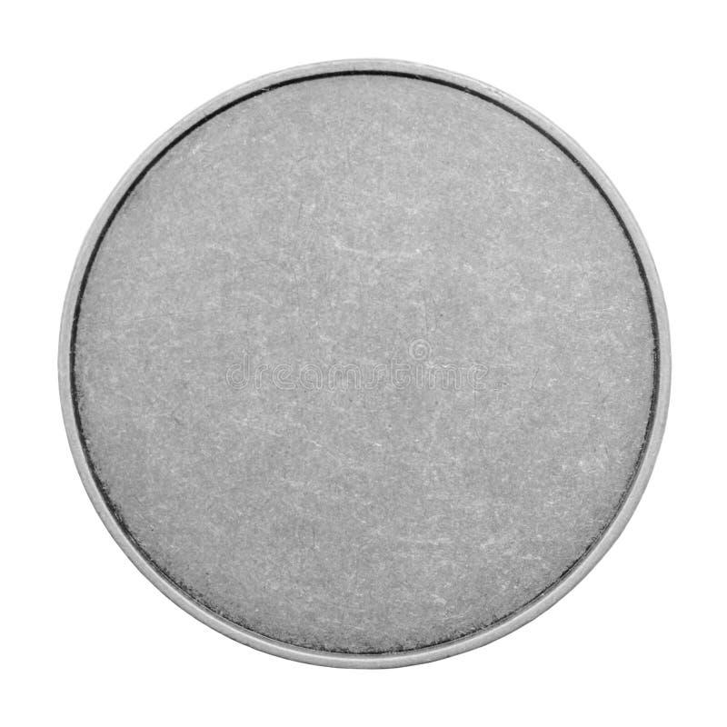 Modelli in bianco per le monete o medaglie con struttura del metallo Argento immagini stock