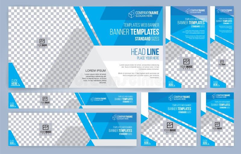 Modelli blu e bianchi delle insegne di web, dimensioni standard con spazio per la foto illustrazione vettoriale