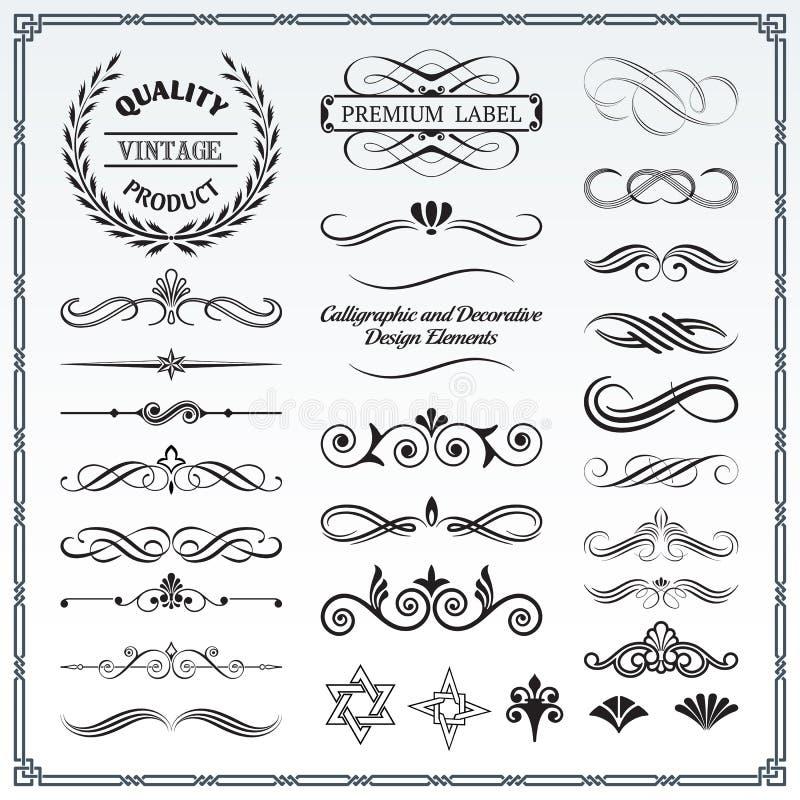 Modelli calligrafici e decorativi di progettazione illustrazione vettoriale