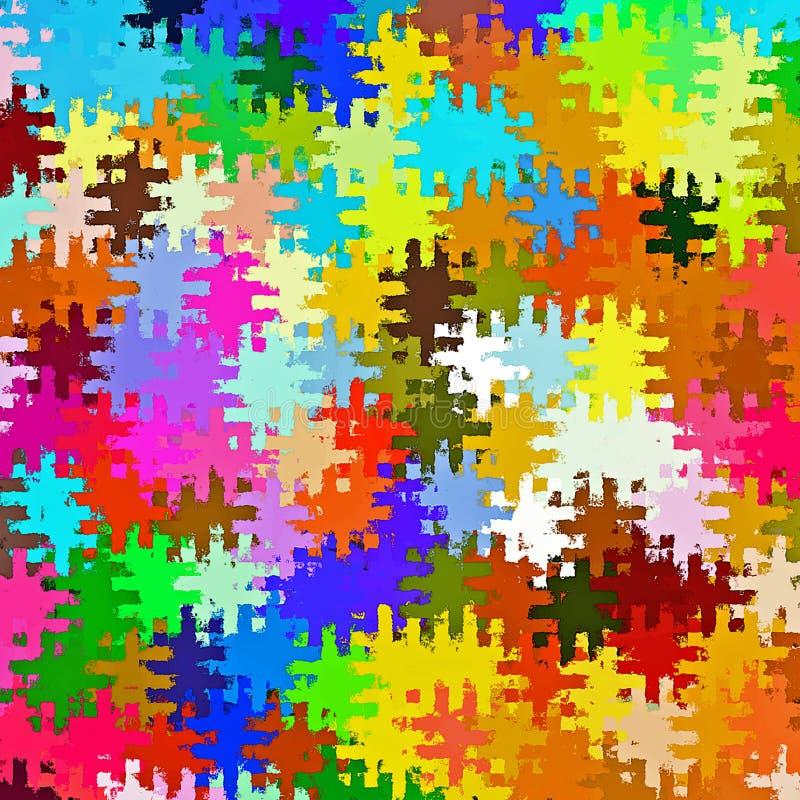 Modelli caotici del puzzle della pittura della spazzola dello spruzzo dell'estratto della pittura di Digital nel fondo variopinto illustrazione vettoriale