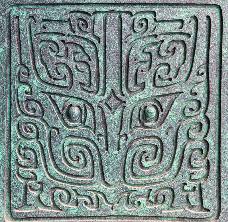 Modelli cinesi della decorazione degli articoli del bronzo di dinastia di shang fotografia stock