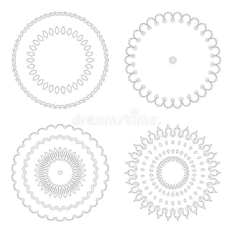 Modelli circolari di progettazione Modelli decorativi rotondi Insieme della mandala creativa isolato su bianco royalty illustrazione gratis