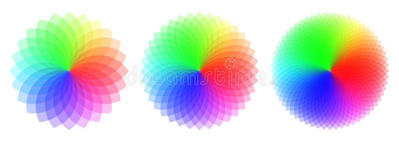Modelli colorati con il numero differente degli elementi Circ dell'arcobaleno illustrazione di stock