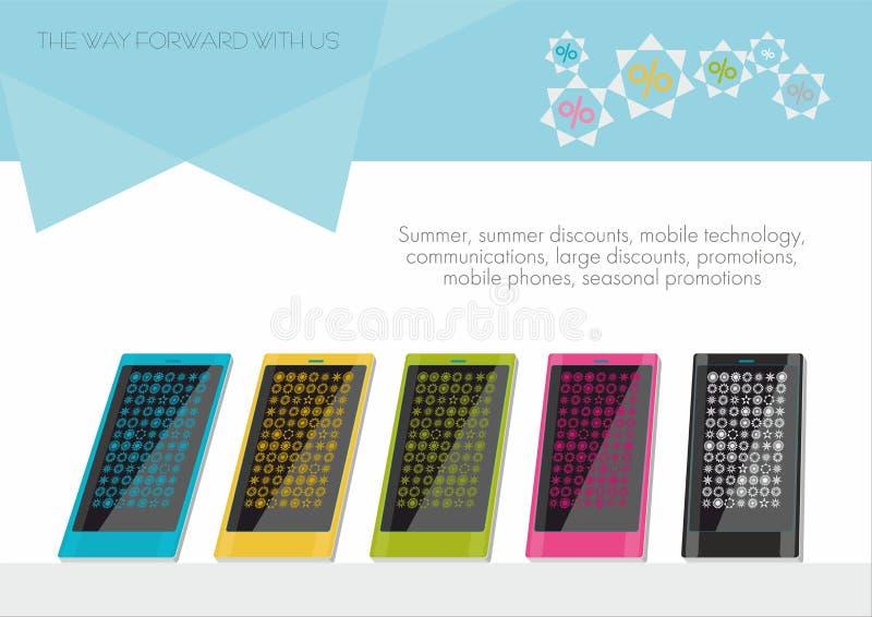 Modelli colorati degli smartphones fotografia stock libera da diritti