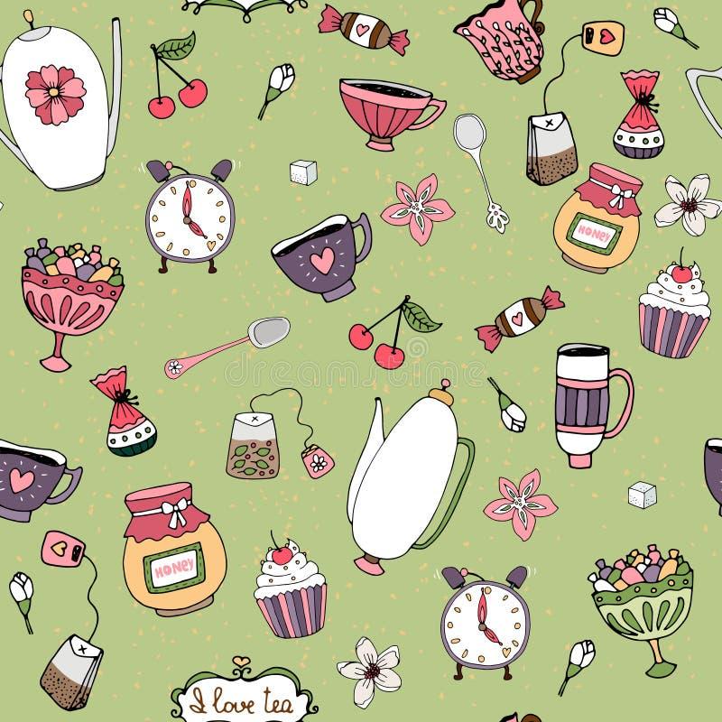 Modelli con i dolci ed i fiori delle teiere dei tazza da the illustrazione di stock