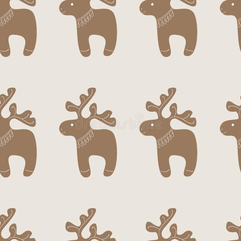 Modelli con il biscotto della renna di Natale illustrazione di stock