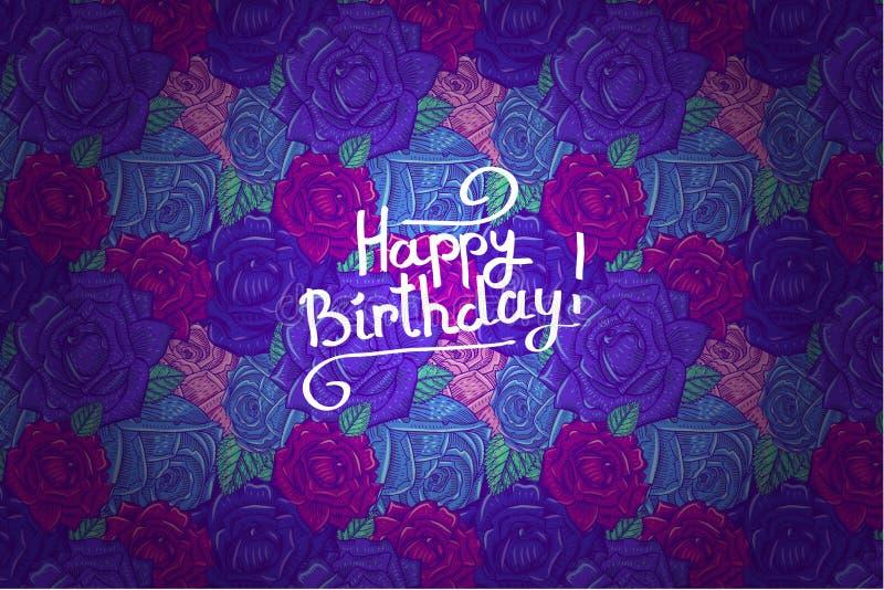 Modelli con il compleanno delle rose illustrazione vettoriale