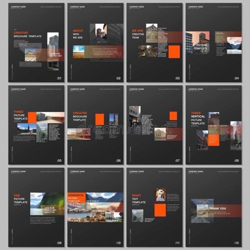 Modelli creativi dell'opuscolo con gli elementi di tendenza geometrici di progettazione variopinta di pendenza Le coperture proge illustrazione di stock
