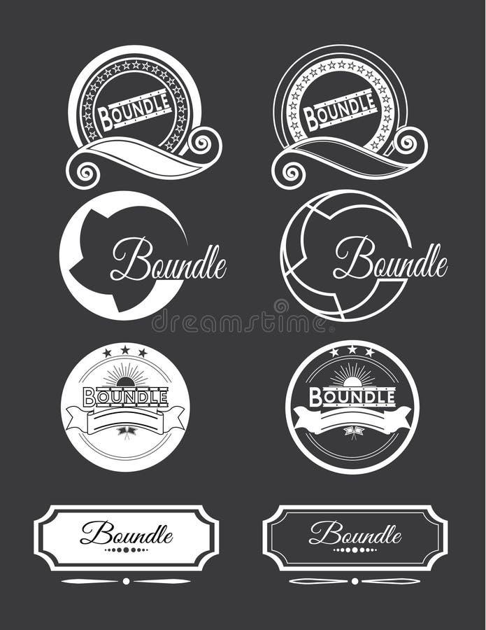 Modelli d'annata di progettazione del logos messi illustrazione vettoriale