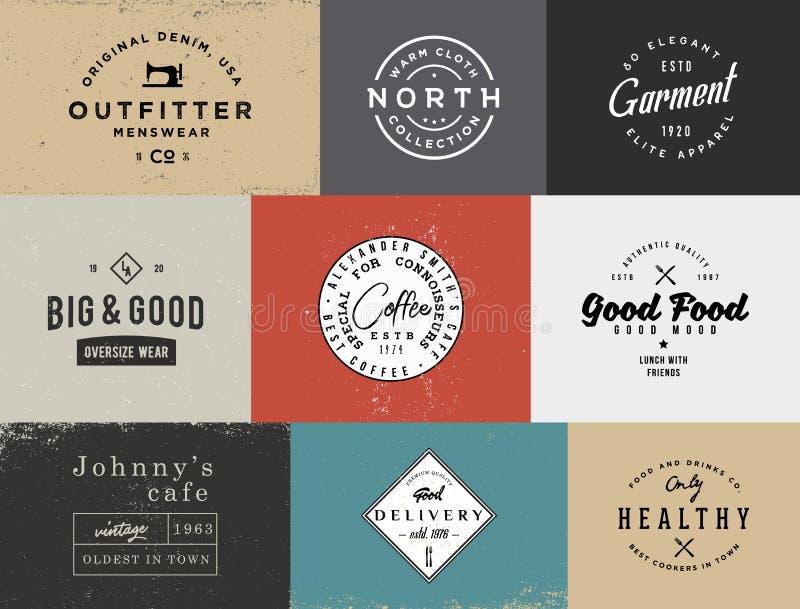 Modelli d'annata differenti di logo con differenti ambiti di provenienza colorati illustrazione di stock