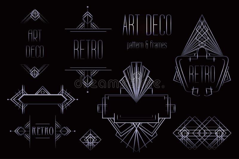 Modelli d'annata e strutture di Art Deco Parte posteriore geometrica del retro partito illustrazione vettoriale