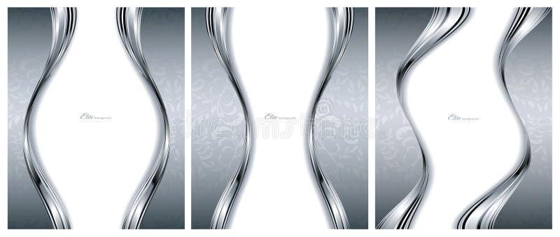 Modelli d'argento astratti degli ambiti di provenienza illustrazione vettoriale