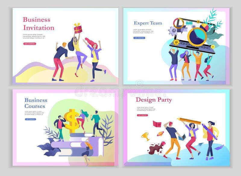 Modelli d'atterraggio della pagina messi con muoversi della gente del gruppo Invito di affari e partito corporativo, corsi di for illustrazione vettoriale