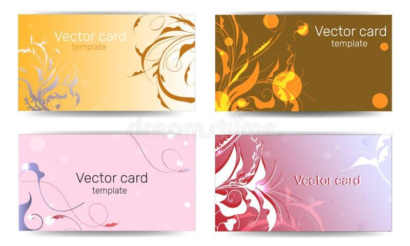 Modelli dei biglietti da visita con il rosa ed i modelli floreali arancio Cornice di testo Bandiera geometrica astratta illustrazione vettoriale