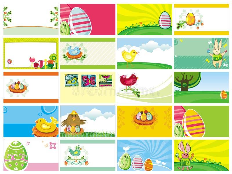 Modelli dei biglietti da visita di Pasqua royalty illustrazione gratis