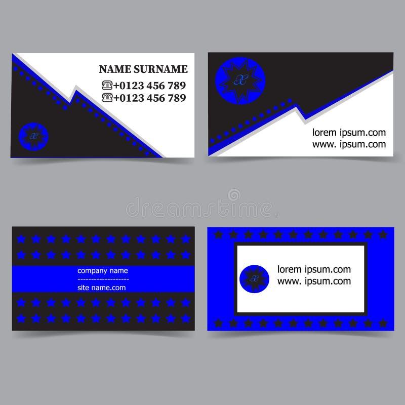Modelli del biglietto da visita Insieme di vettore di progettazione della cancelleria Colori blu, bianchi e neri Illustrazione pi royalty illustrazione gratis