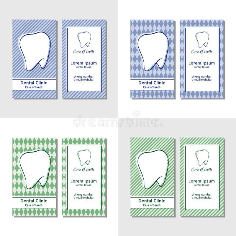 Modelli del biglietto da visita per le cliniche dentarie royalty illustrazione gratis