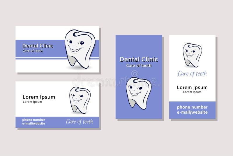 Modelli del biglietto da visita per le cliniche dentarie illustrazione di stock
