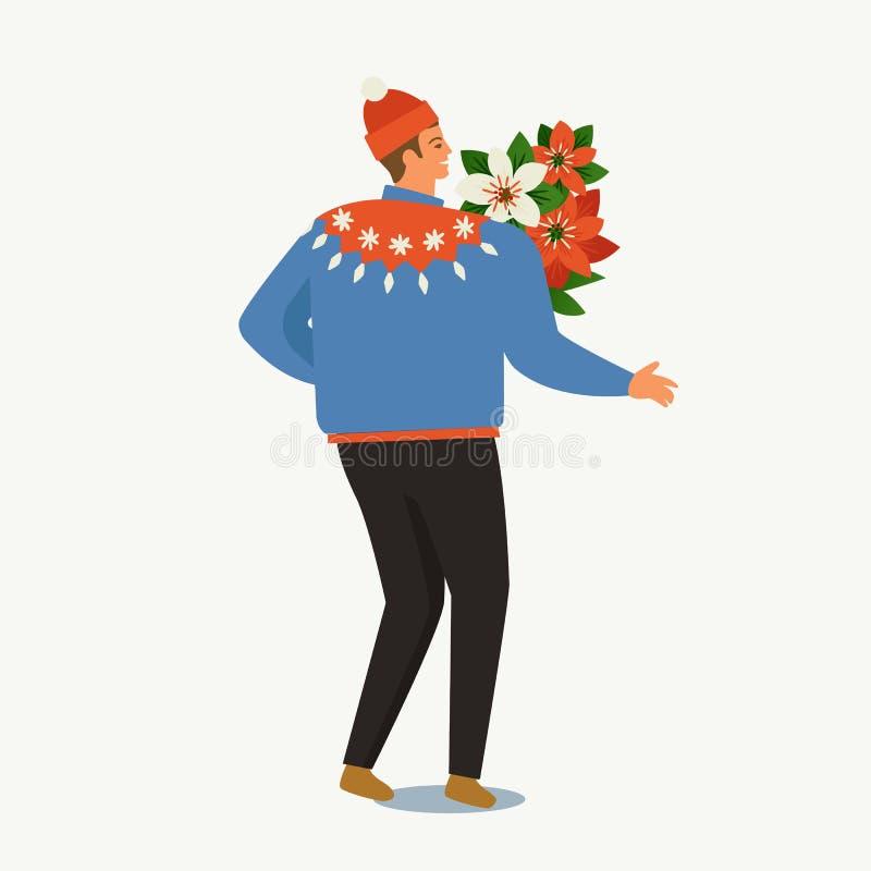 Modelli del buon anno e di Natale Retro stile d'avanguardia illustrazione vettoriale