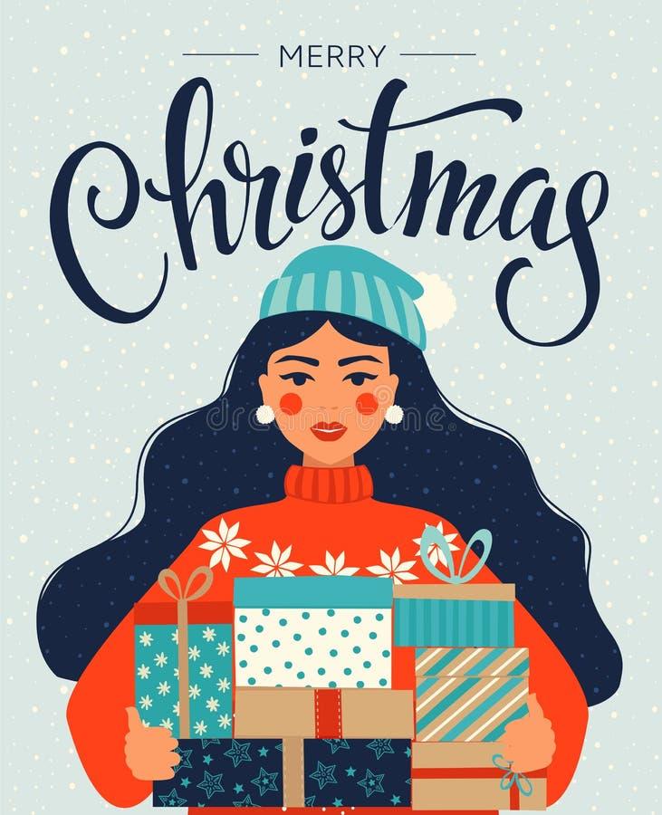 Modelli del buon anno e di Natale Retro stile d'avanguardia Modello di disegno di vettore illustrazione vettoriale