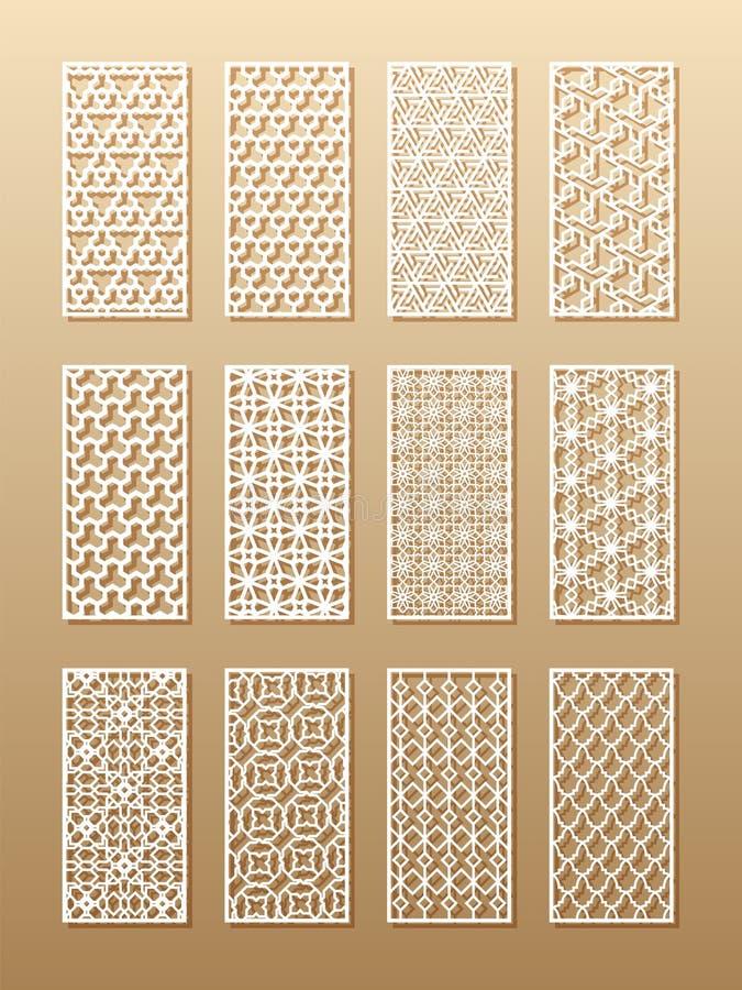 12 modelli del laser per le pareti della stanza nello stile arabo Ornamento orientale tradizionale in un rettangolo per la proget royalty illustrazione gratis