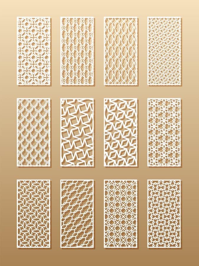 12 modelli del laser per le pareti della stanza nello stile arabo Ornamento orientale tradizionale in un rettangolo per la proget illustrazione vettoriale