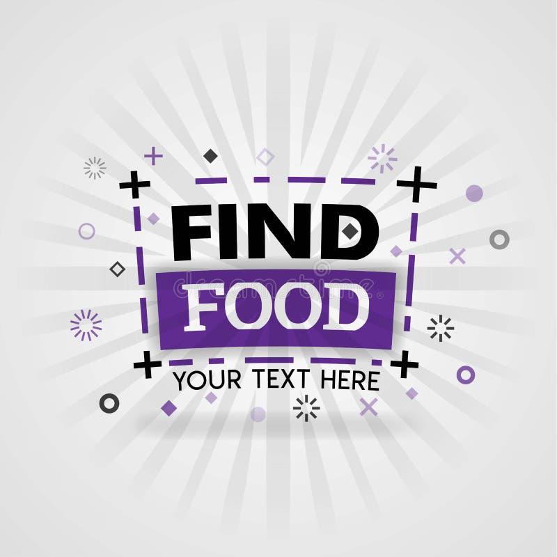 Modelli del logos dell'alimento del ritrovamento con i temi rapidi e le ricette facili ed i siti Web dell'alimento illustrazione vettoriale