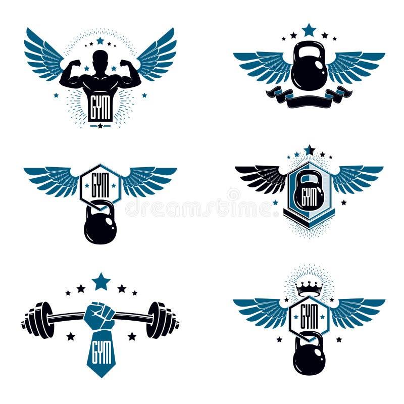 Modelli del logotype del club di sport della palestra del peso massimo e di forma fisica, retro illustrazione di stock