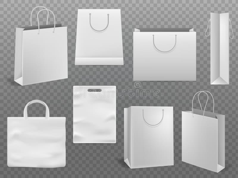 Modelli del sacchetto della spesa La borsa vuota di modo di Libro Bianco della borsa con il vettore 3d della maniglia ha isolato  illustrazione di stock