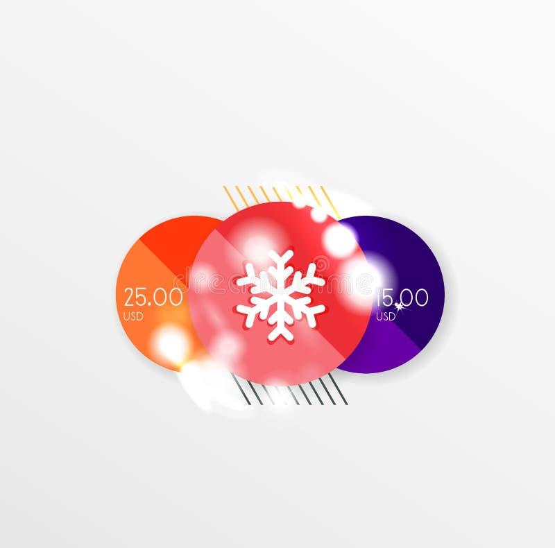 Modelli dell'autoadesivo di vendita del nuovo anno e di Natale royalty illustrazione gratis