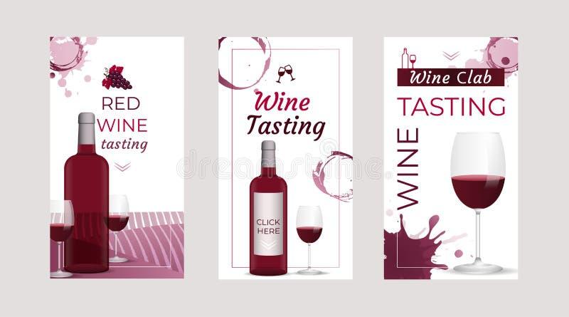Modelli dell'invito dell'assaggio di vino con le bottiglie di vino ed i vetri di vino Opuscoli, manifesti, carte dell'invito, pro royalty illustrazione gratis