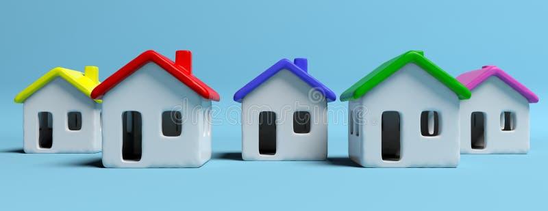 Una residenza delle case blu illustrazione 3d for Modelli case 3d