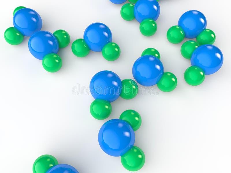 modelli della molecola di acqua 3d illustrazione di stock