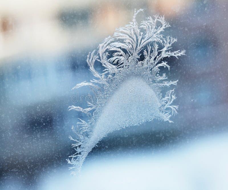 Modelli della neve su vetro immagine stock libera da diritti